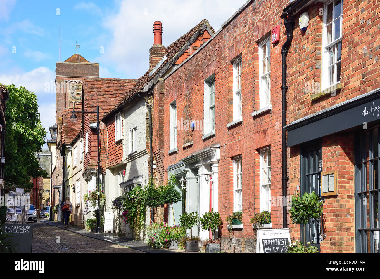 Cobbled street and period houses, Lombard Street, Petworth, West Sussex, England, United Kingdom - Stock Image