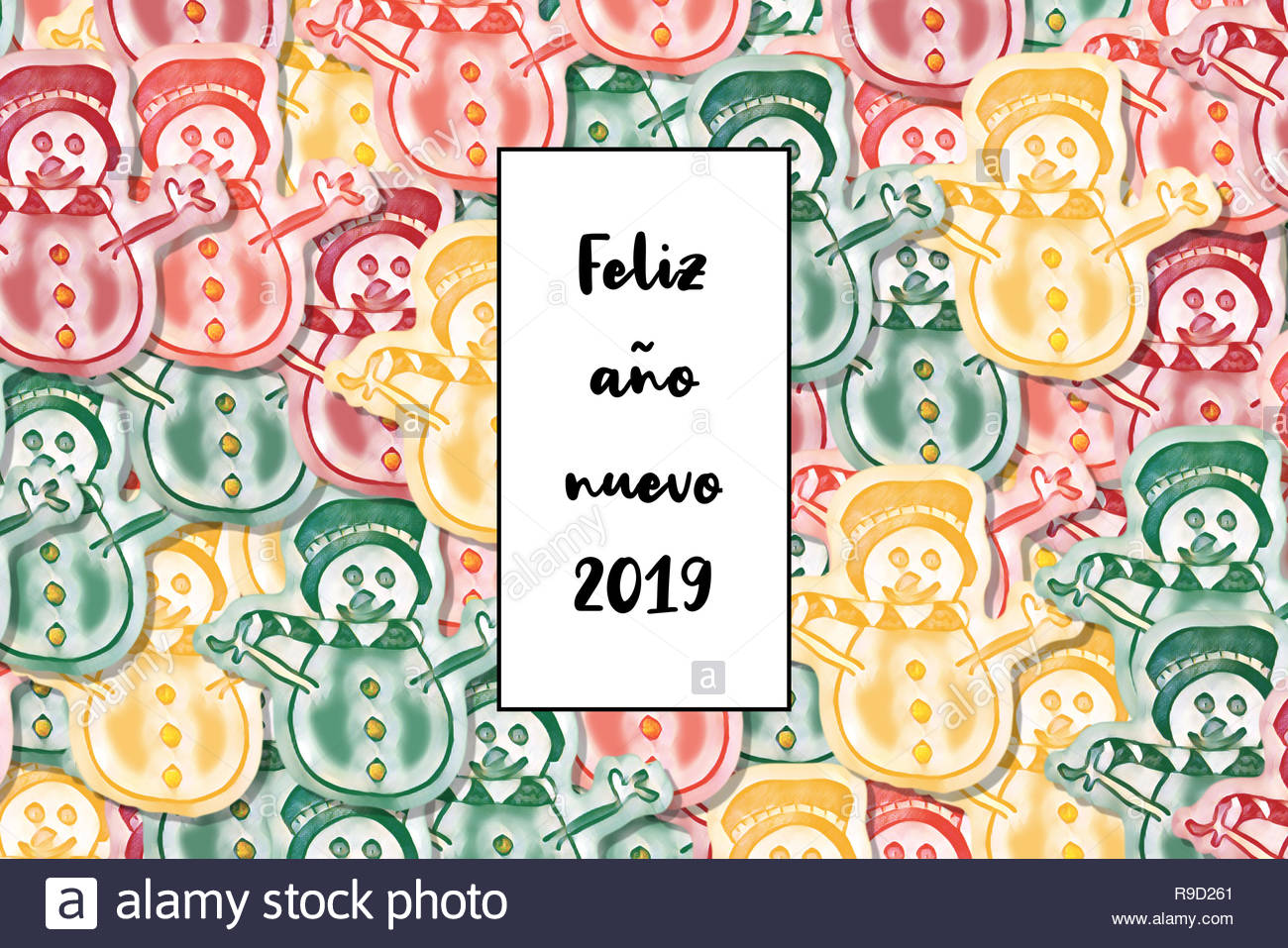 Feliz año nuevo 2019 card (Happy New Year in spanish) with colored snowman as a background - Stock Image