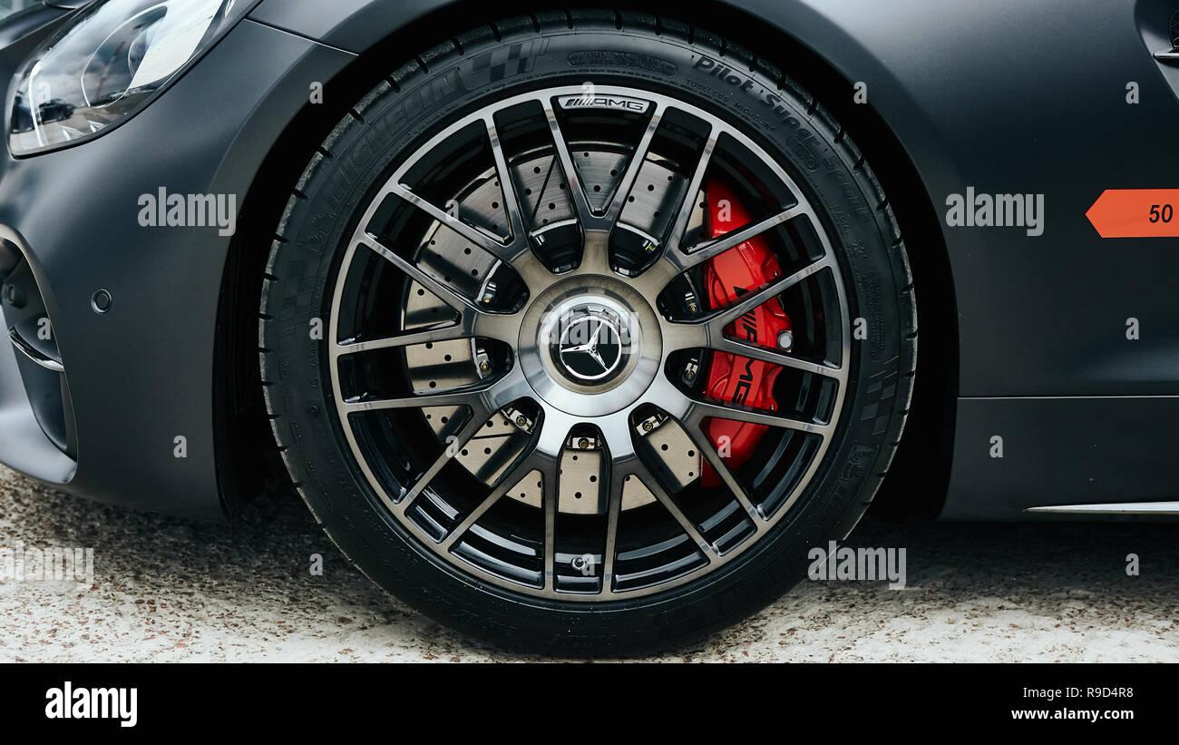 Kyiv, Ukraine - September 2, 2017: Car brake pads Mercedes