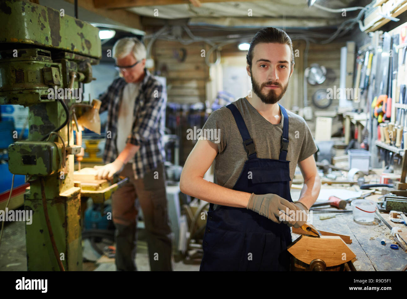 Young woodworker - Stock Image