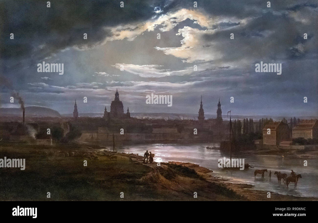 Dresden by Moonlight by J C Dahl (Johan Christian Claussen Dahl: 1788-1857), oil on canvas, 1843 - Stock Image