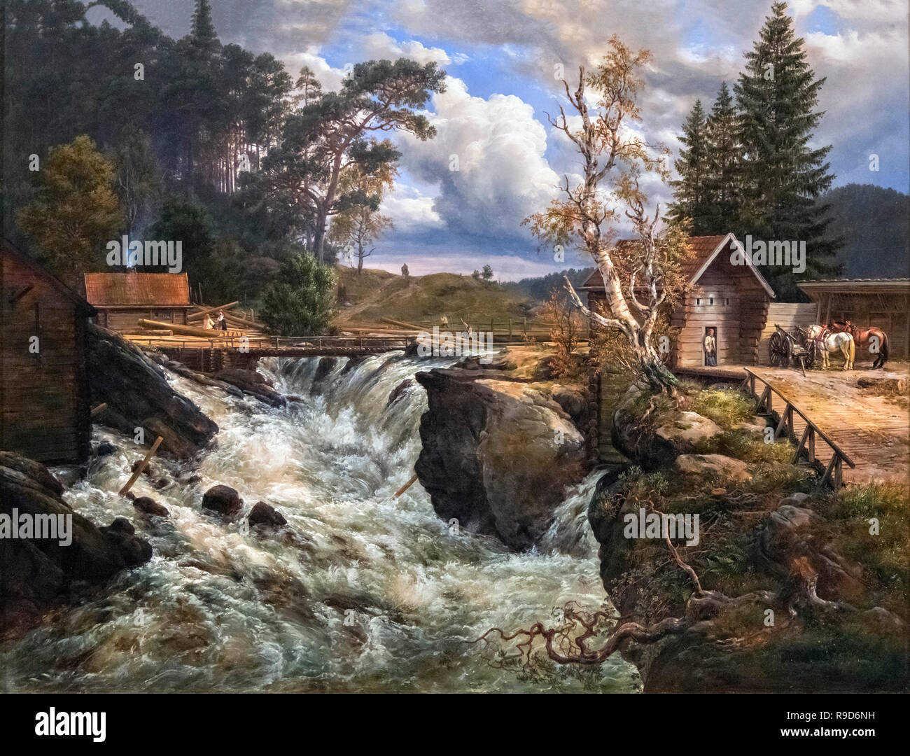 The Upper Falls of the Honefoss (Landskap med Foss) by J C Dahl (Johan Christian Claussen Dahl: 1788-1857), oil on canvas, 1835 - Stock Image