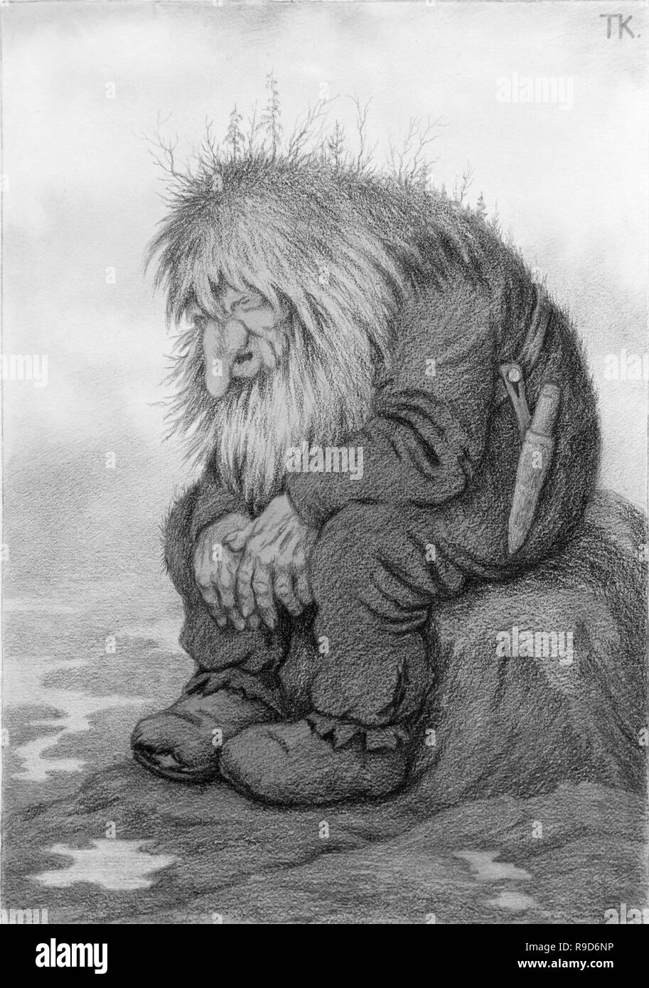 The Troll Who Sat and Wondered How Old He Was by Theodor Severin Kittelsen (1857-1914), pencil and charcoal. Norway troll illustration. - Stock Image