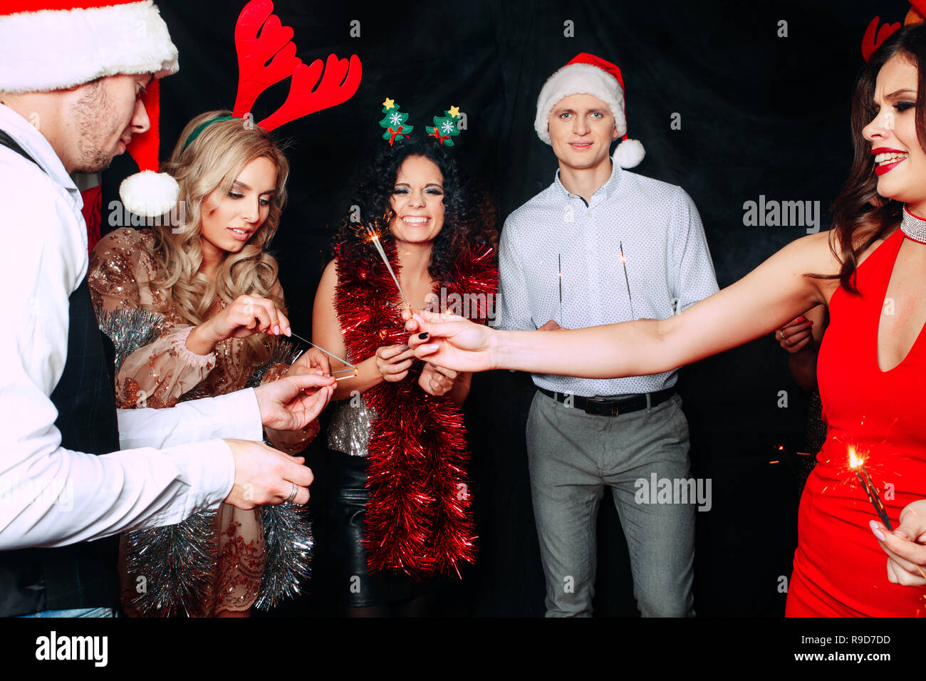 With Love Christmas.Party With Friends They Love Christmas Group Of Cheerful