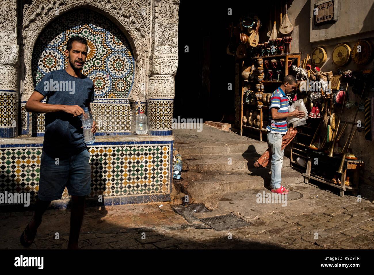 Fes, Morocco - 20 September 2017: Souk Njjarine square - Stock Image