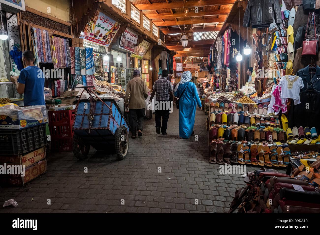 Fes, Morocco - 20 September 2017: Souks of Fes - Stock Image