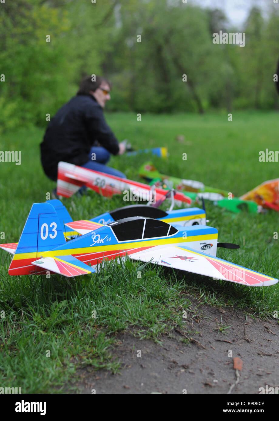 Kovrov, Russia  19 May 2015  Flights on airplane models in football