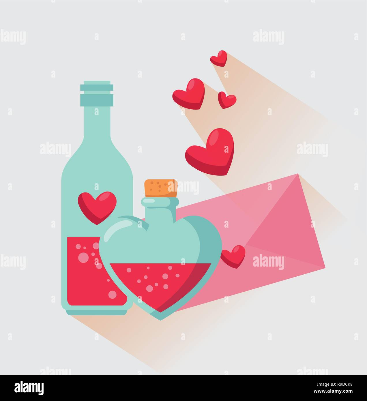 Love Potion Bottle With Valentine Card Message Stock Vector