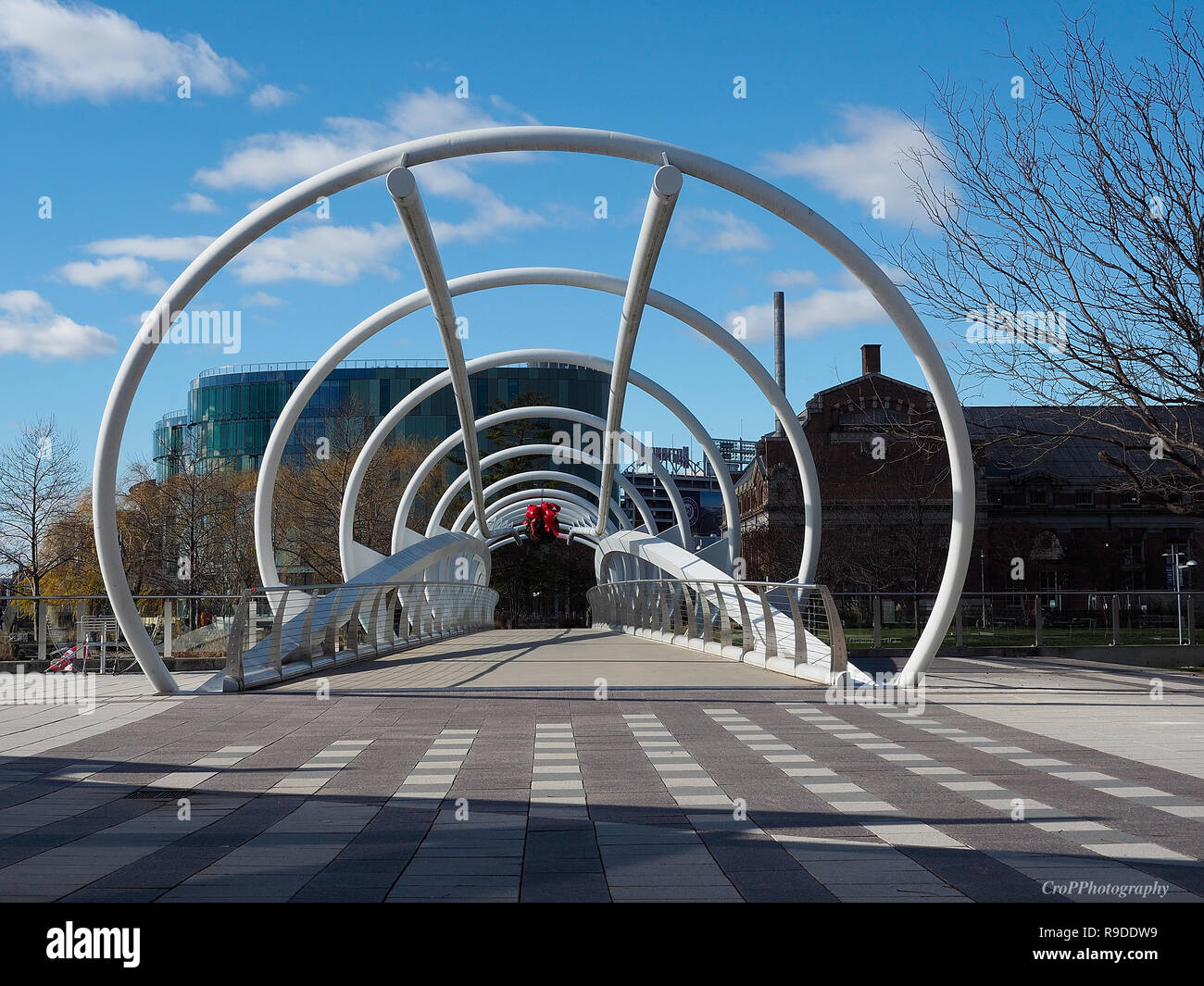 Walkway along Anastasia River in Capitol Riverfront area in Washington DC Stock Photo
