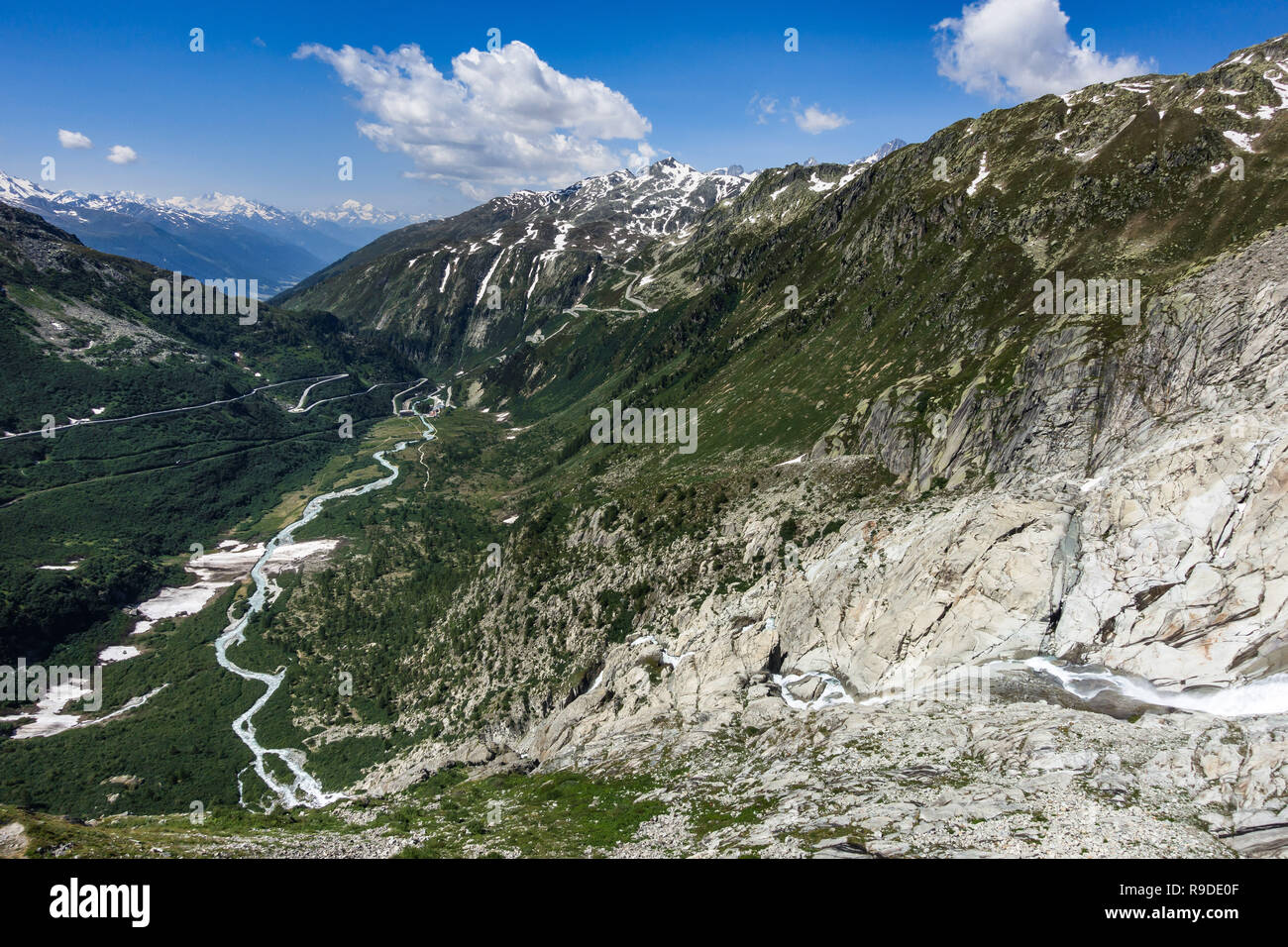 Upper Valais landscape viewed from Rhone Glacier, the source of Rhone river, Switzerland Stock Photo