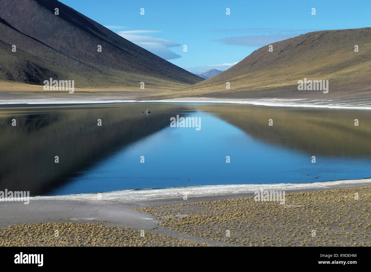 Miniques Altiplanic Lagoon in the Atacama desert. Blue refections of the sky in the water as well as the mountains around it. Chile, South America. - Stock Image