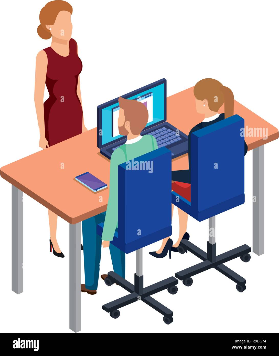 business people in the desk with laptop - Stock Image