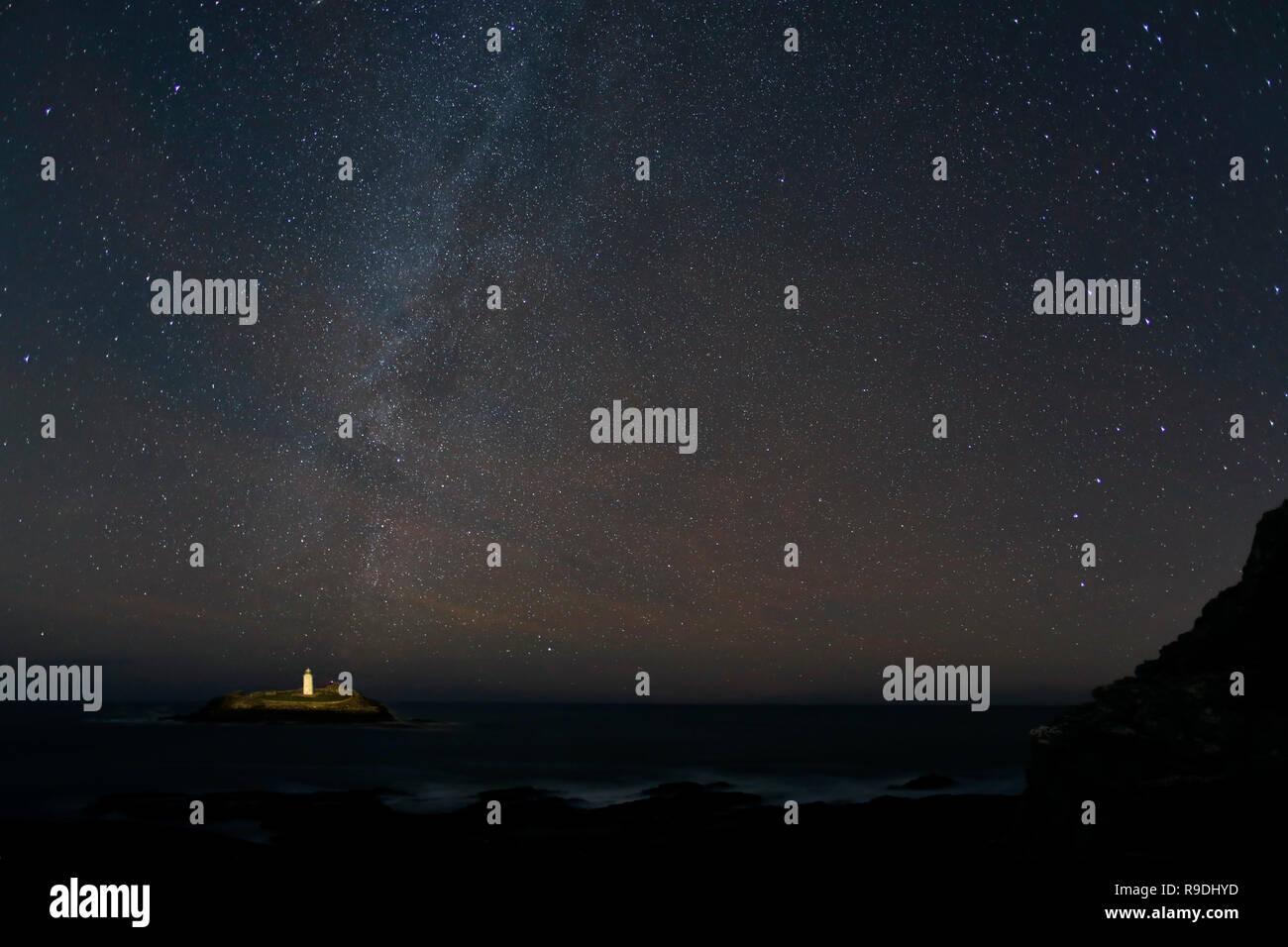 Godrevy; Stars at Night; Cornwall; UK - Stock Image