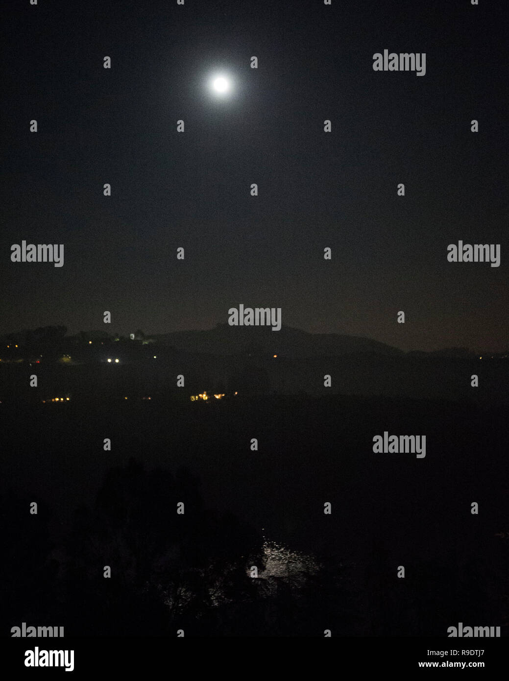 December 22, 2018: Hollywood sign and Reservoir. Hollywood California, CA, USA, - Stock Image