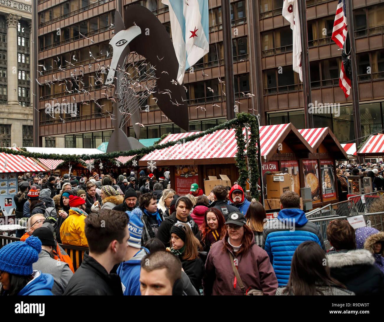 Chicago Christmas Market.Chicago Usa 22nd Dec 2018 People Visit Christkindlmarket