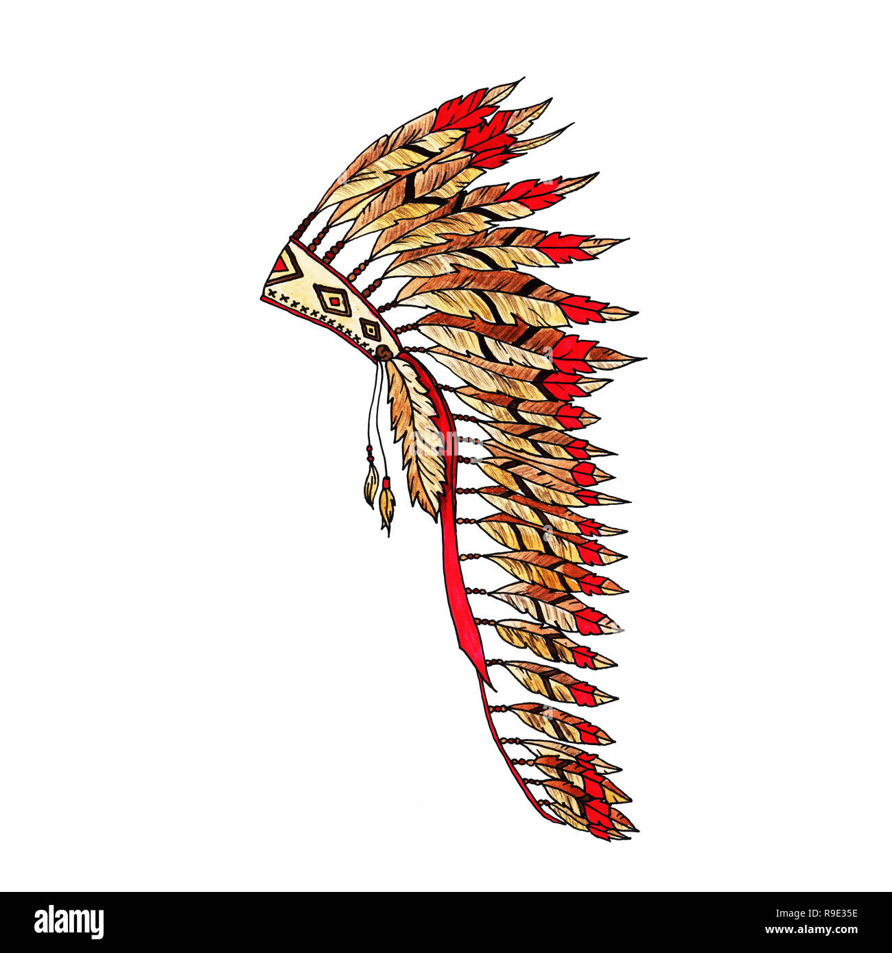 American painted Warbonnet Artwork. Eagle Feathers Hat. Native Indian Colorful Accessory. Headdress Realistic Drawing. Thanksgiving and Halloween Cost - Stock Image