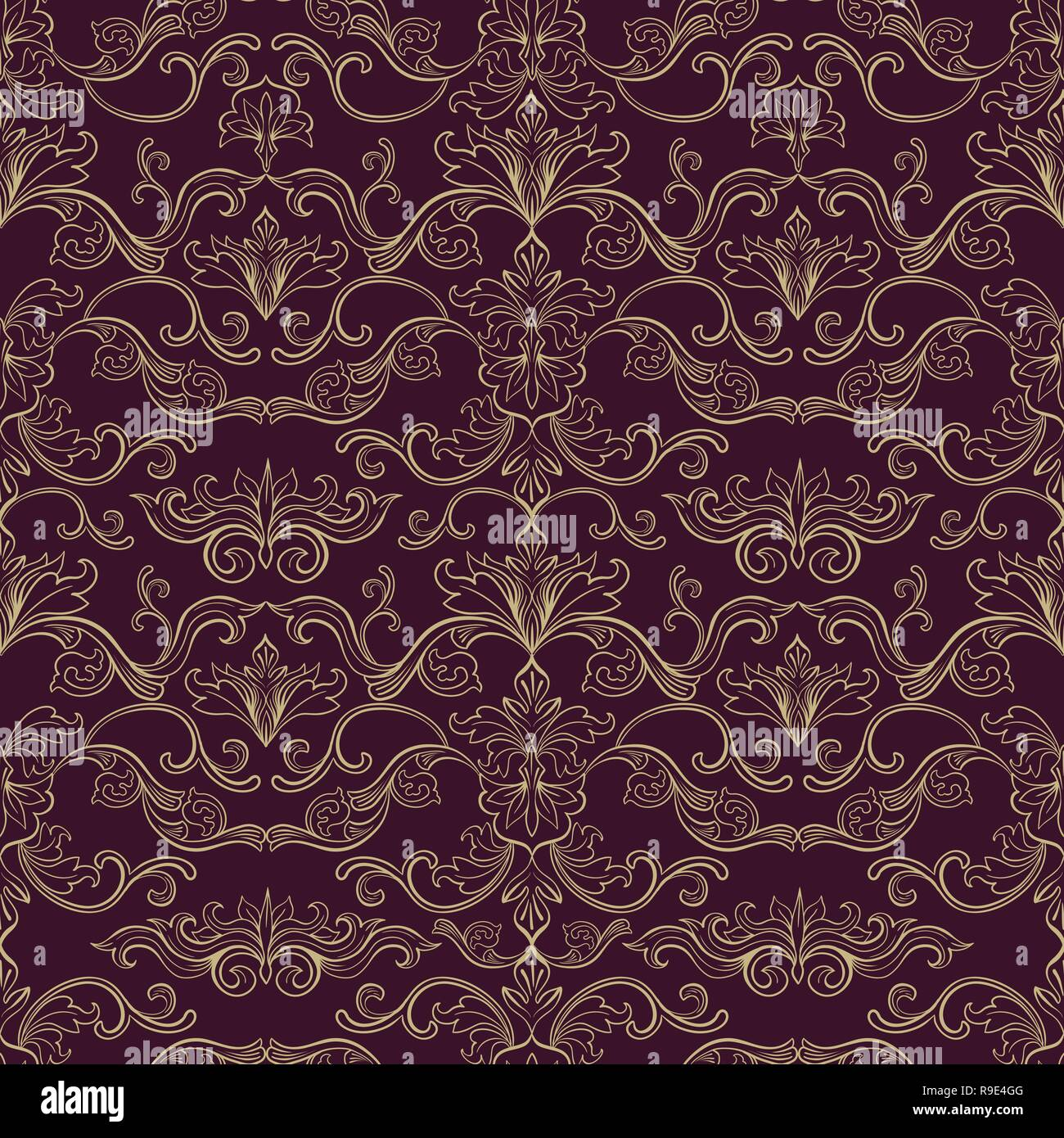 Damask Vector Seamless Pattern Vintage Style Wallpaper Carpet Or Wrapping Paper Design Red Italian Medieval Floral Flourishes Greek Flowers For Textures Baroque Leaves For Scrapbooking Stock Vector Image Art Alamy