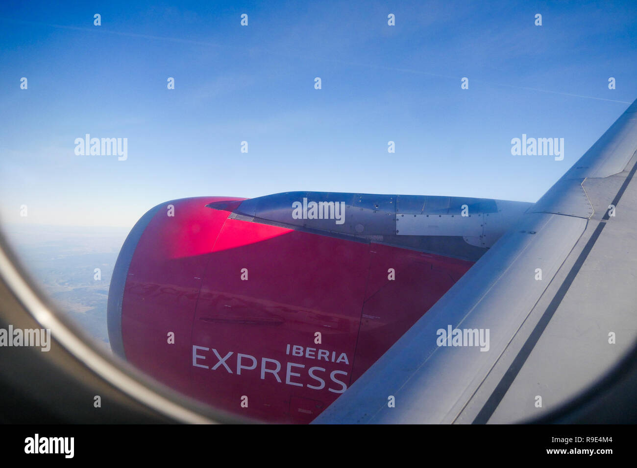 Airplane flight over Spain Stock Photo