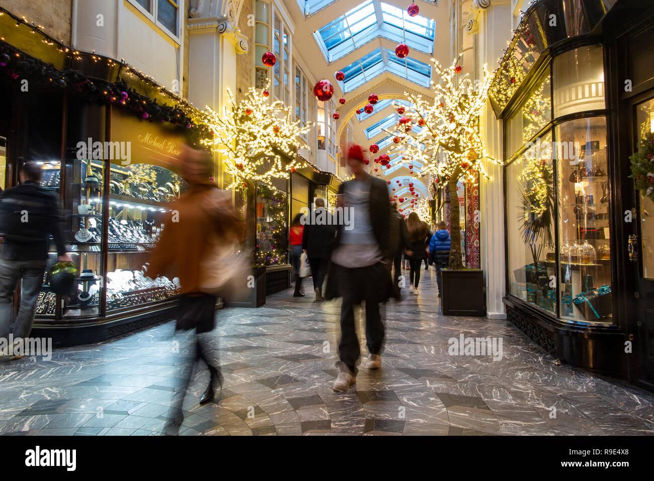 Burlington Arcade in Mayfair, London at Christmas time - Stock Image