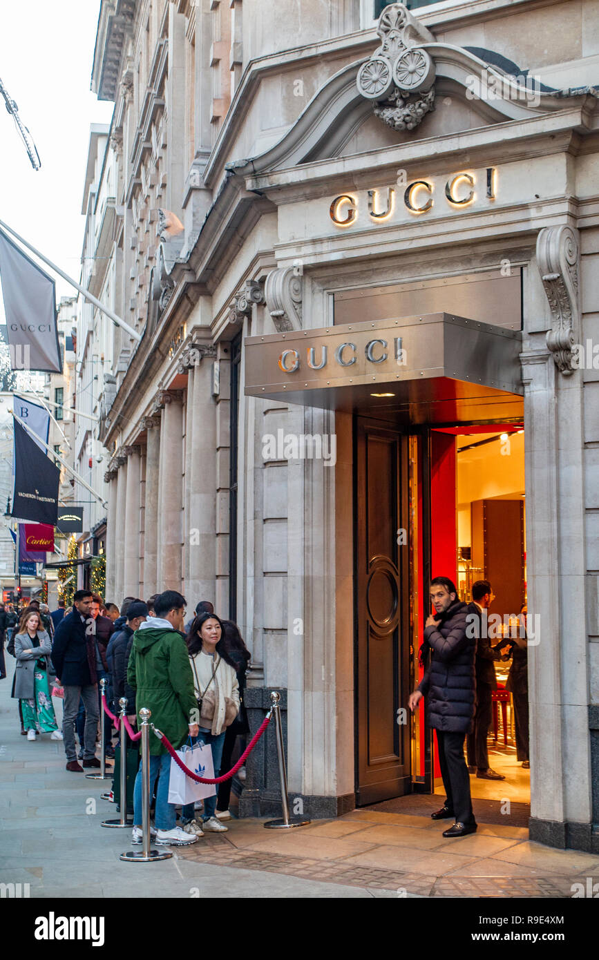 fca452cf98 A queue for shoppers at the Gucci shop in Bond Street at Christmas time