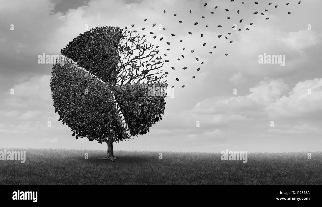 Financial market losses financial and economic decline concept and stockmarket crash or corporate loss as a tree shaped as a pie chart diagram. - Stock Image
