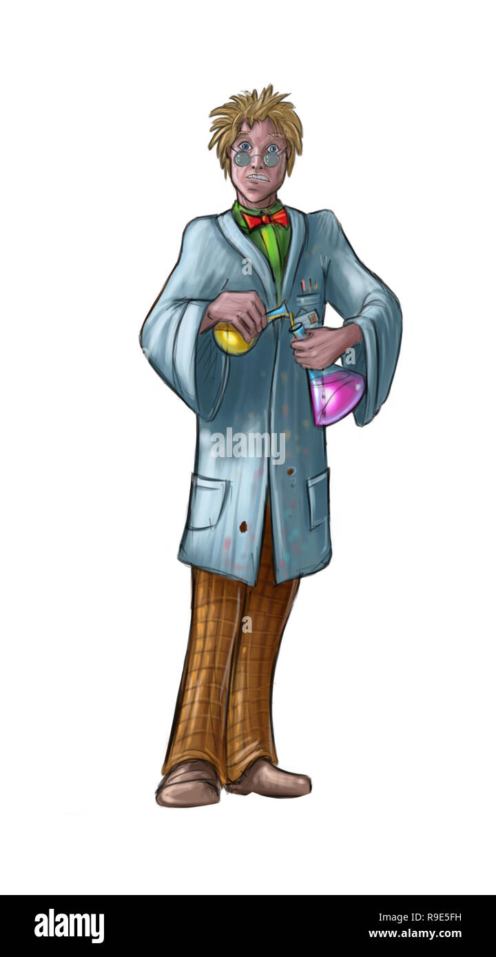 Concept Art Sci-fi Illustration of Mad Scientist Working in Laboratory - Stock Image