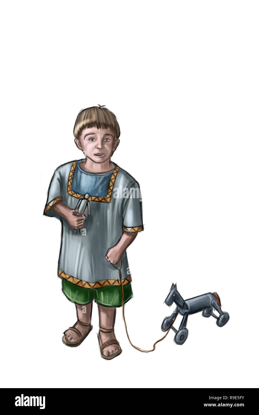 Concept Art Fantasy Illustration Of Small Boy With Wooden Toy Horse Stock Photo Alamy