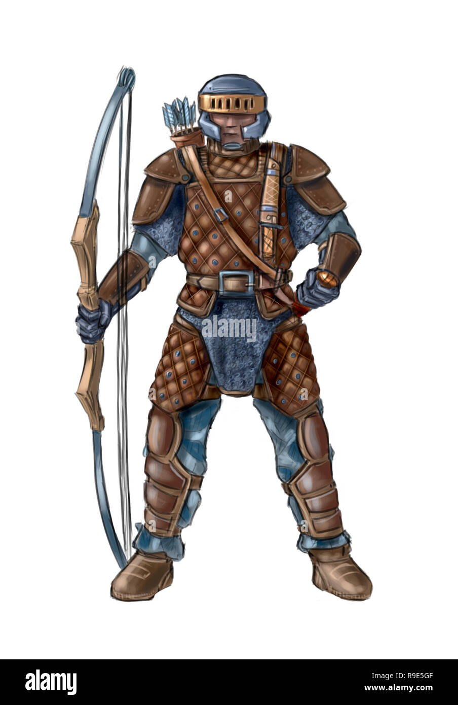 Concept Art Fantasy Illustration Of Archer In Leather Armor With Bow