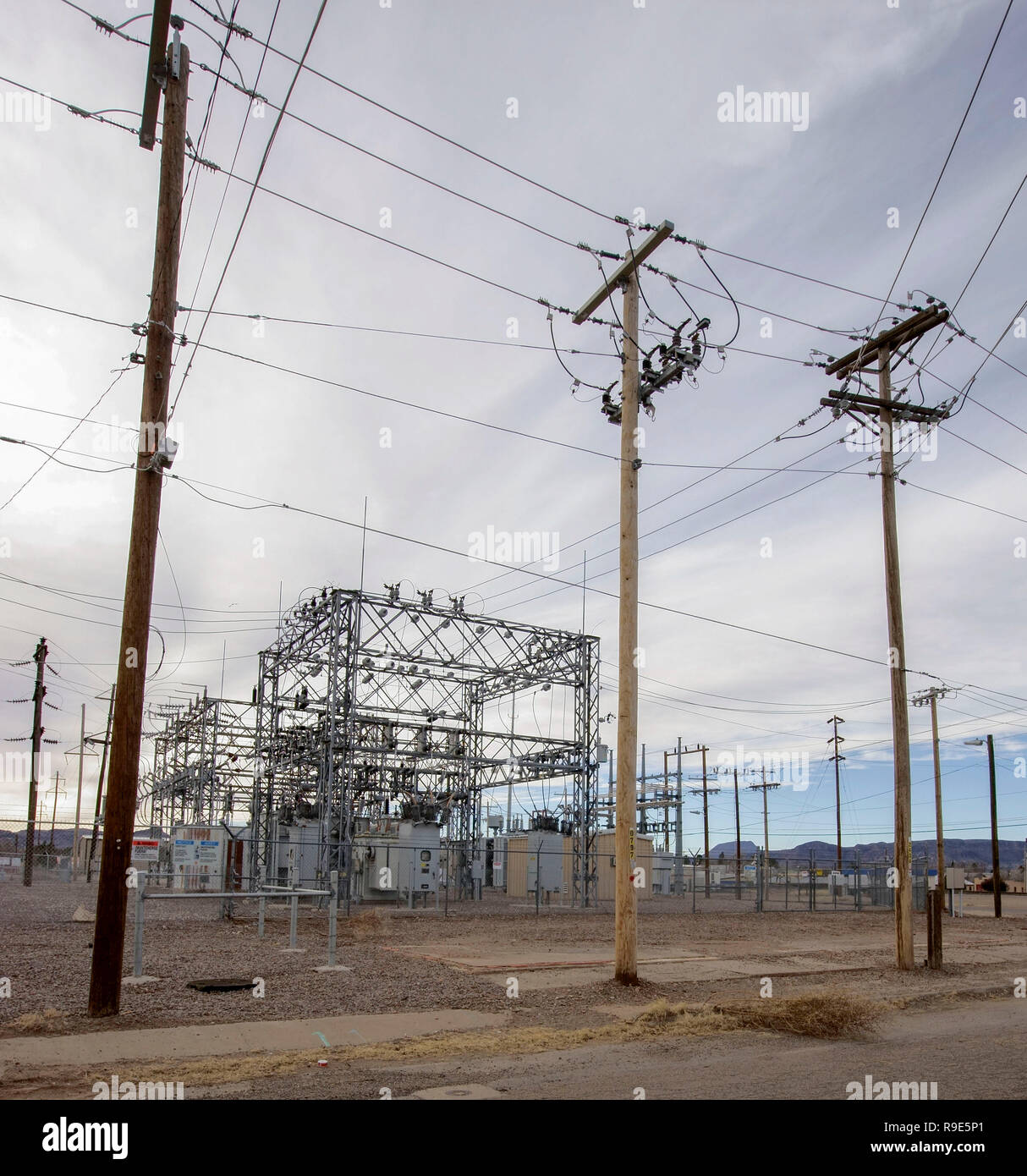 Electricity substation in Alpine, Texas - Stock Image