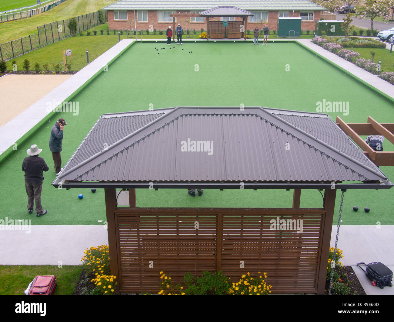 Lawn Bowls In A Retirement Village - Stock Image