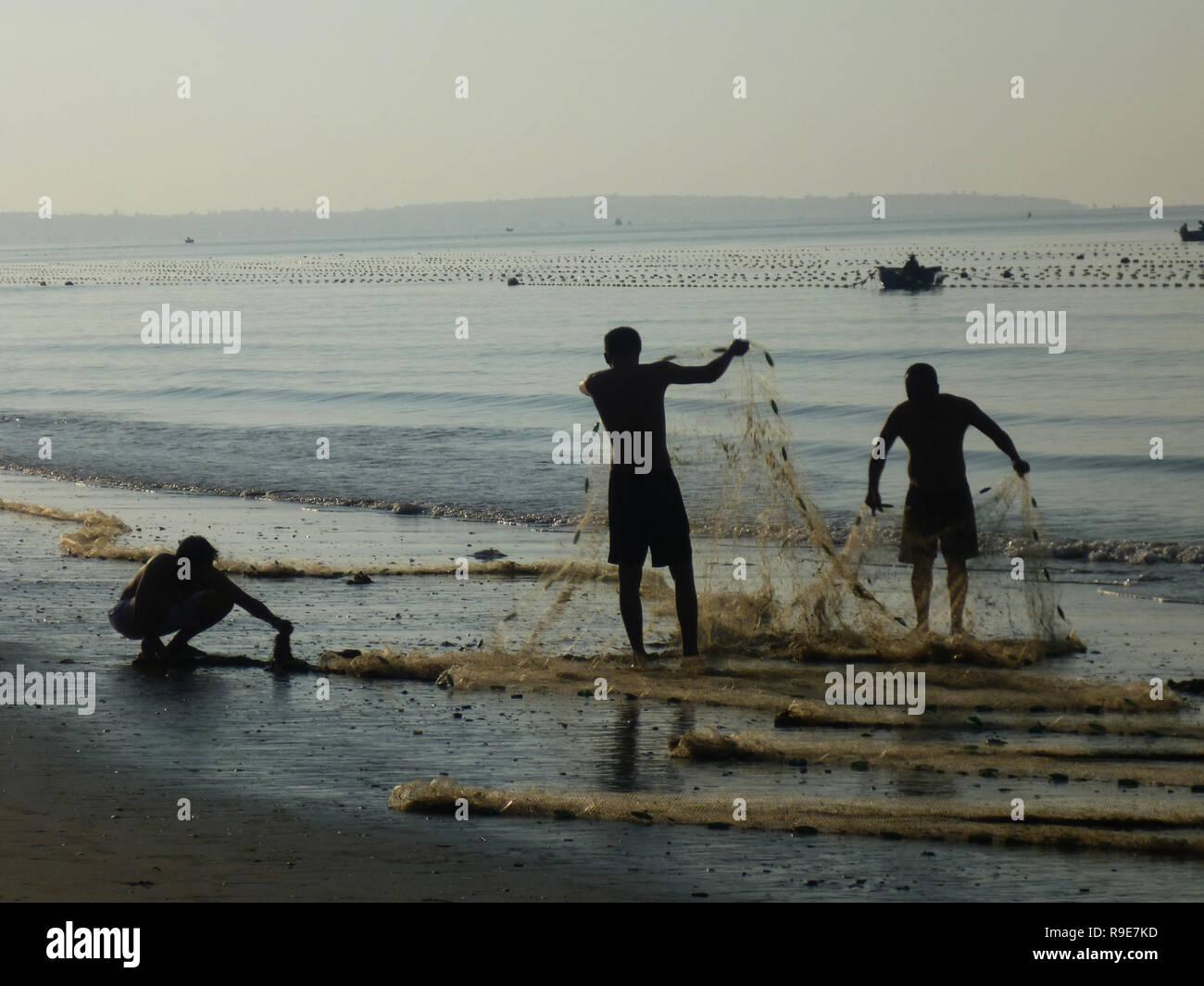 Vietnam - Fishing in Phan Thiet - Stock Image
