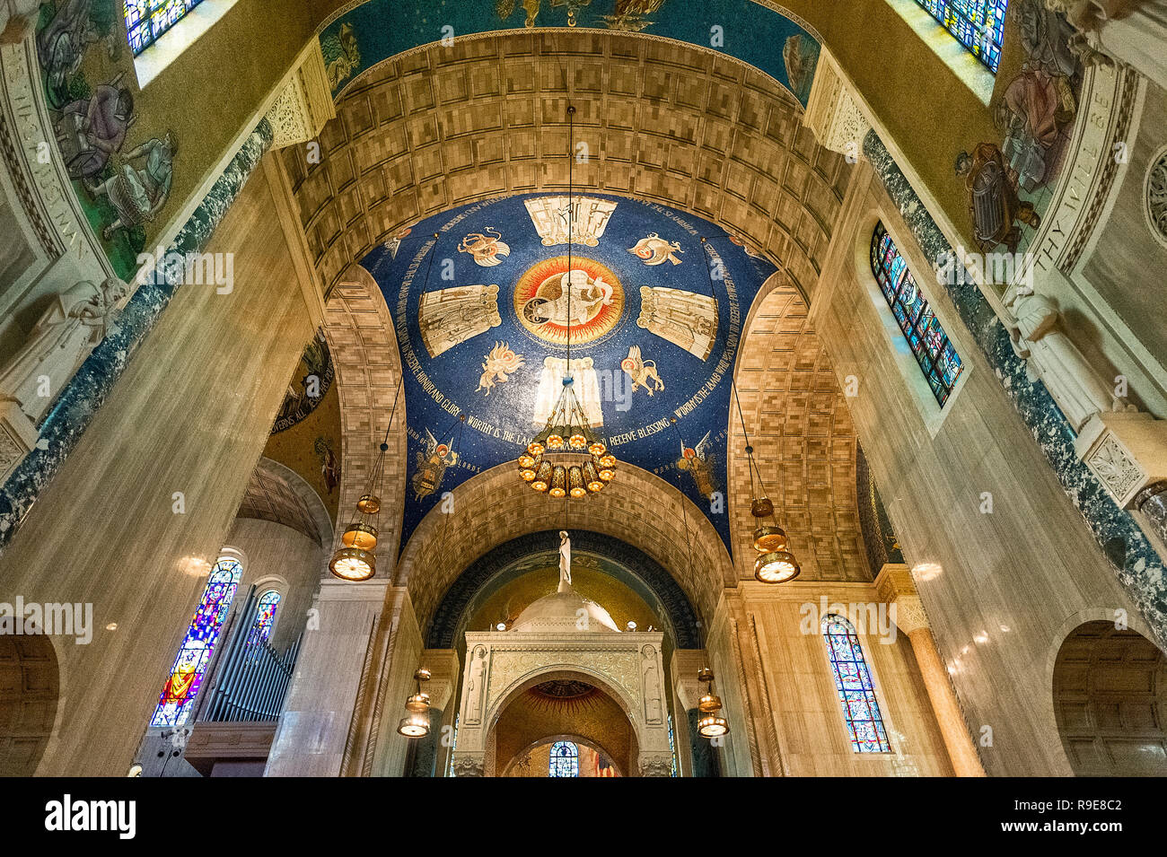 Interior of the Basilica of the National Shrine of the Immaculate Conception, Washington DC, USA. Stock Photo