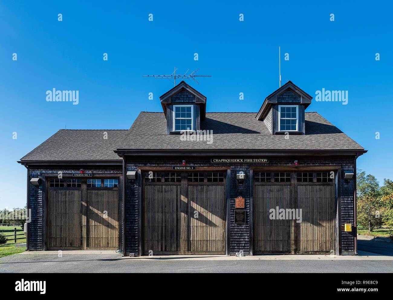 Charming Cappaquiddick Fire Station, Edgartown, Martha's Vineyard, Massachusetts, USA. - Stock Image