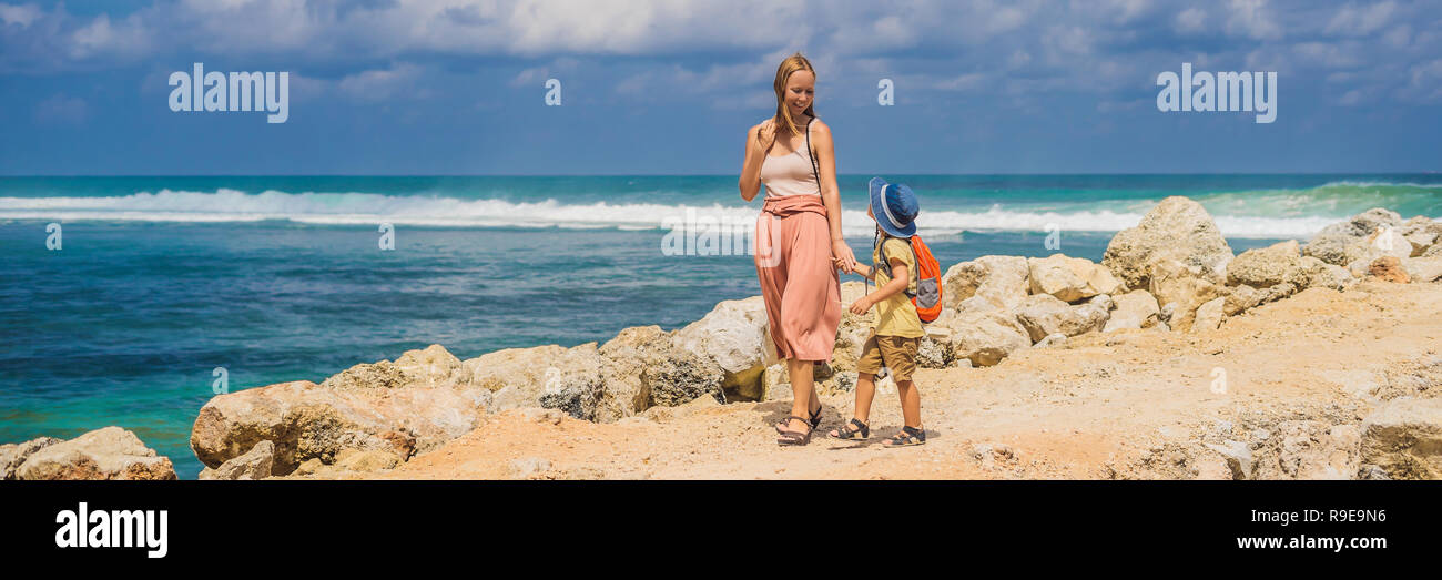 Mom And Son Travelers On Amazing Melasti Beach With Turquoise Water