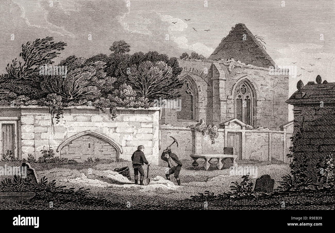 St Triduana's Chapel, Restalrig Collegiate Church, Views in Edinburgh by J. & H. S. Storer - Stock Image