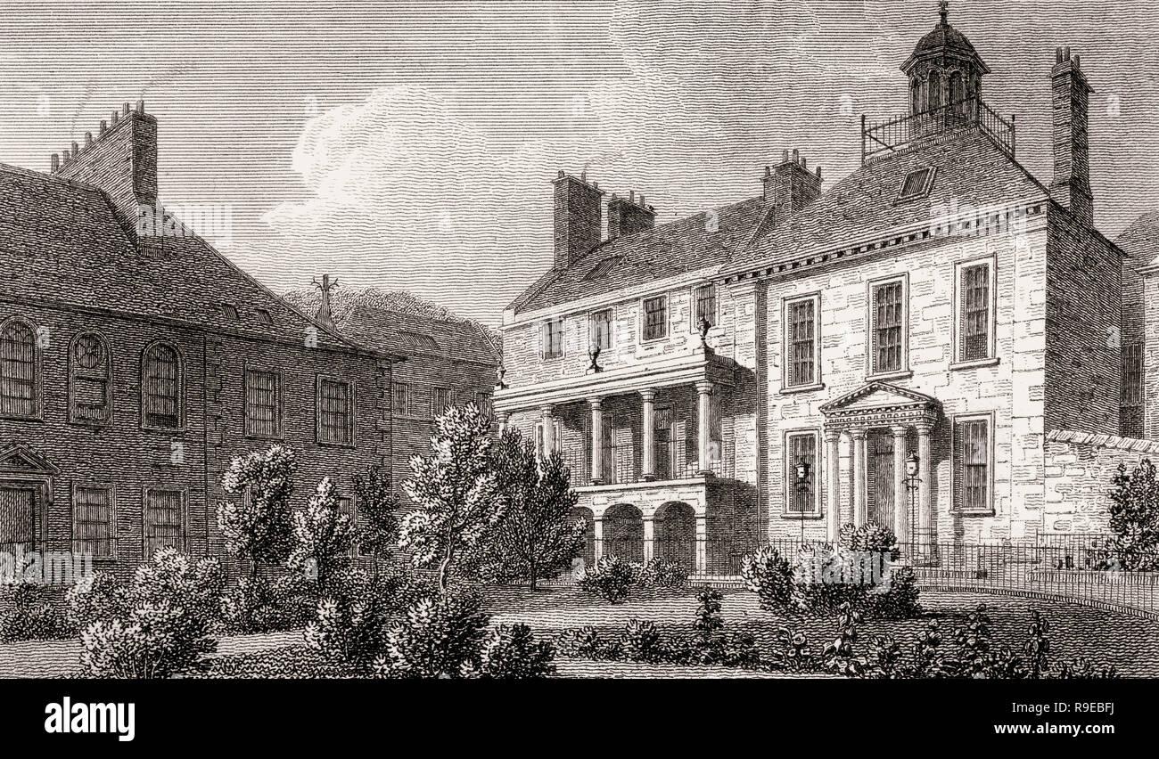 Surgeon's Square in 1829; Edinburgh, Scotland, 19th century, Views in Edinburgh by J. & H. S. Storer - Stock Image