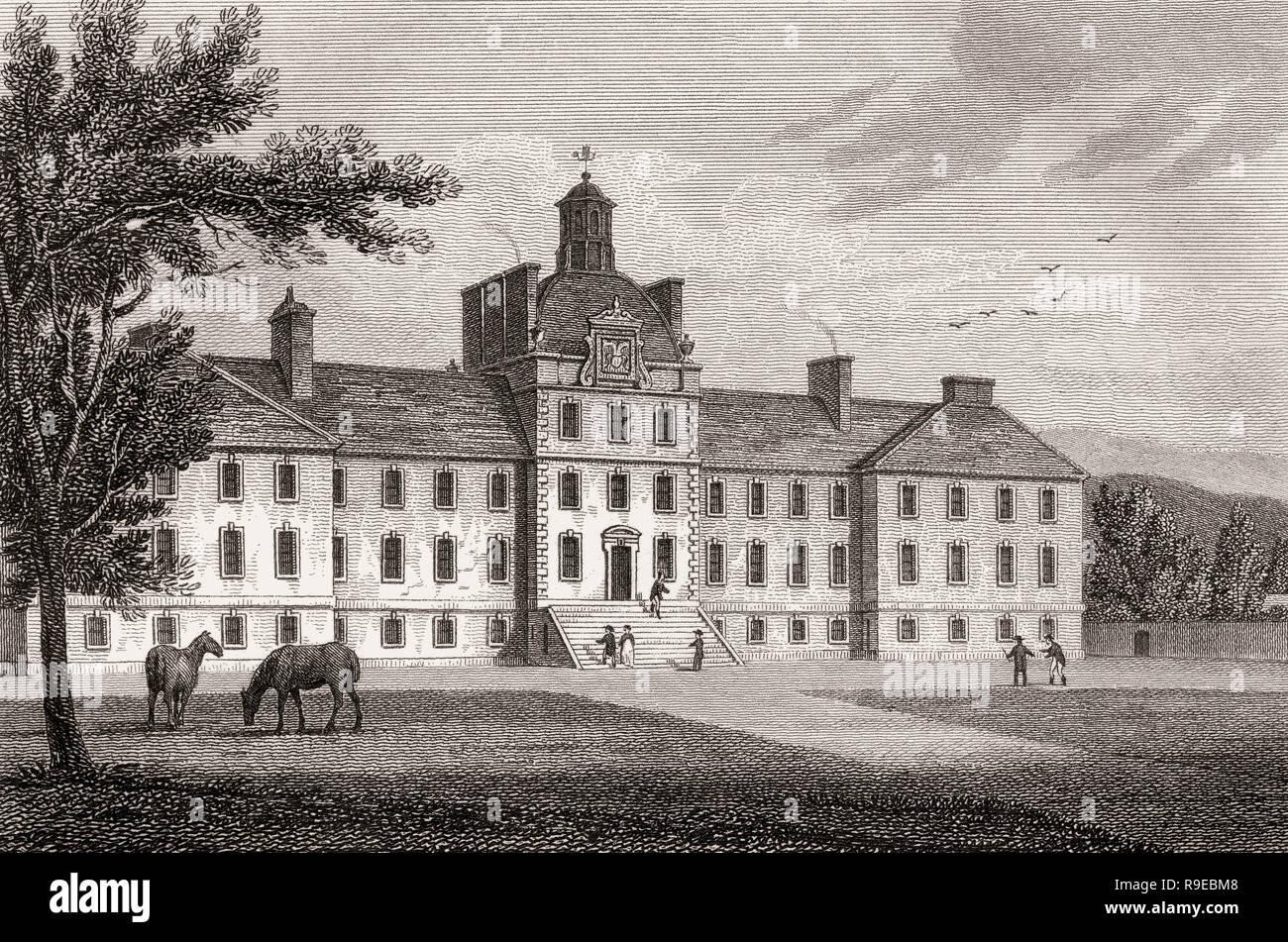 Original George Watson's Hospital, Edinburgh, Scotland, 19th century, Views in Edinburgh by J. & H. S. Storer - Stock Image