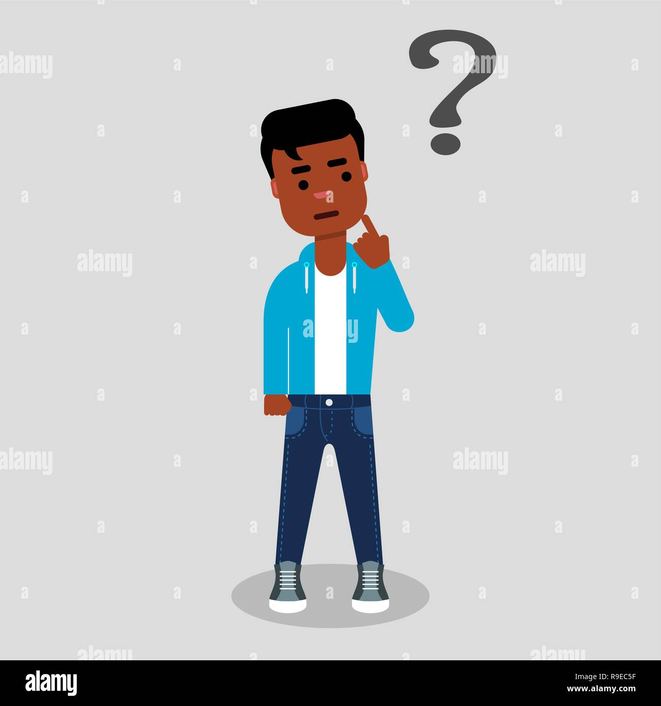Young African american standing below the question mark with finger on his chin. Thinking, making choice, contemplation. Dilemma concept. Stock vector - Stock Vector