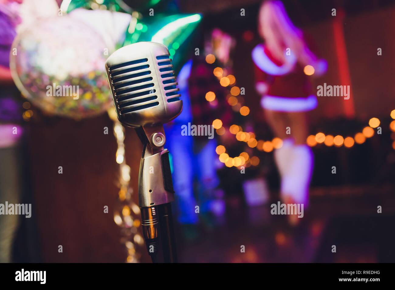 5dbff9c2f99b5 Microphone. Christmas music concept karaoke. Disco. New year celebration. -  Stock Image