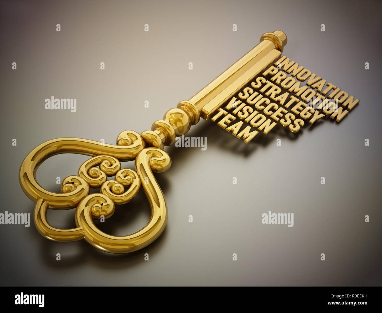 Vintage gold key with business and success related words  3D