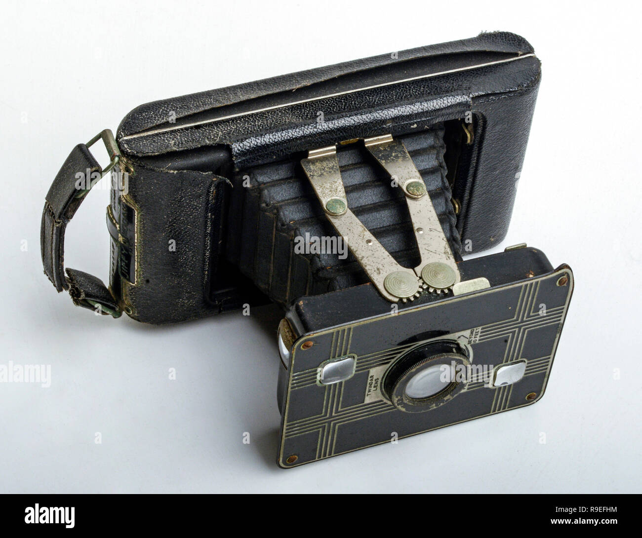 Collapsible vintage camera - Stock Image