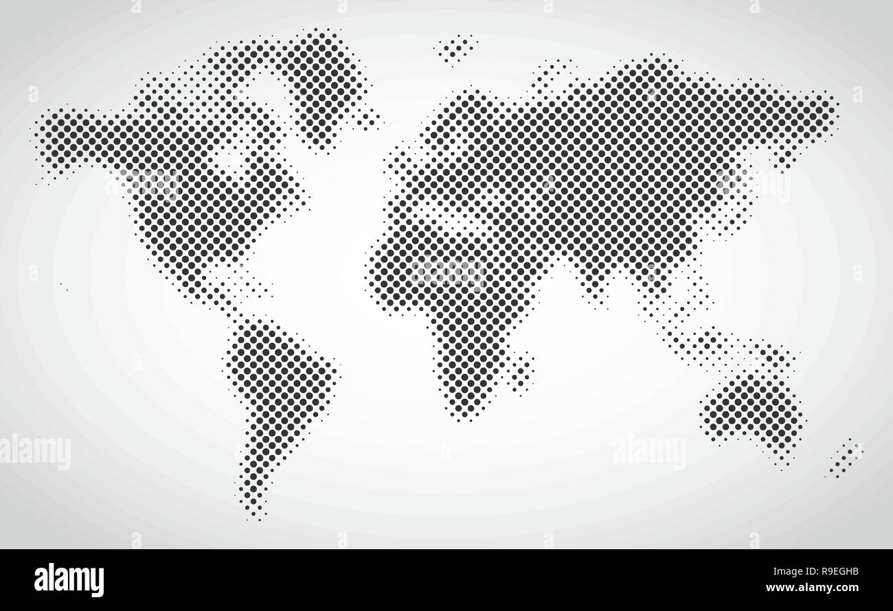 Black halftone dotted world map. Vector illustration. Dotted map in ...
