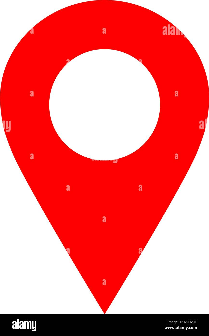 Pin point - red simple hollow, isolated - vector illustration Stock Vector