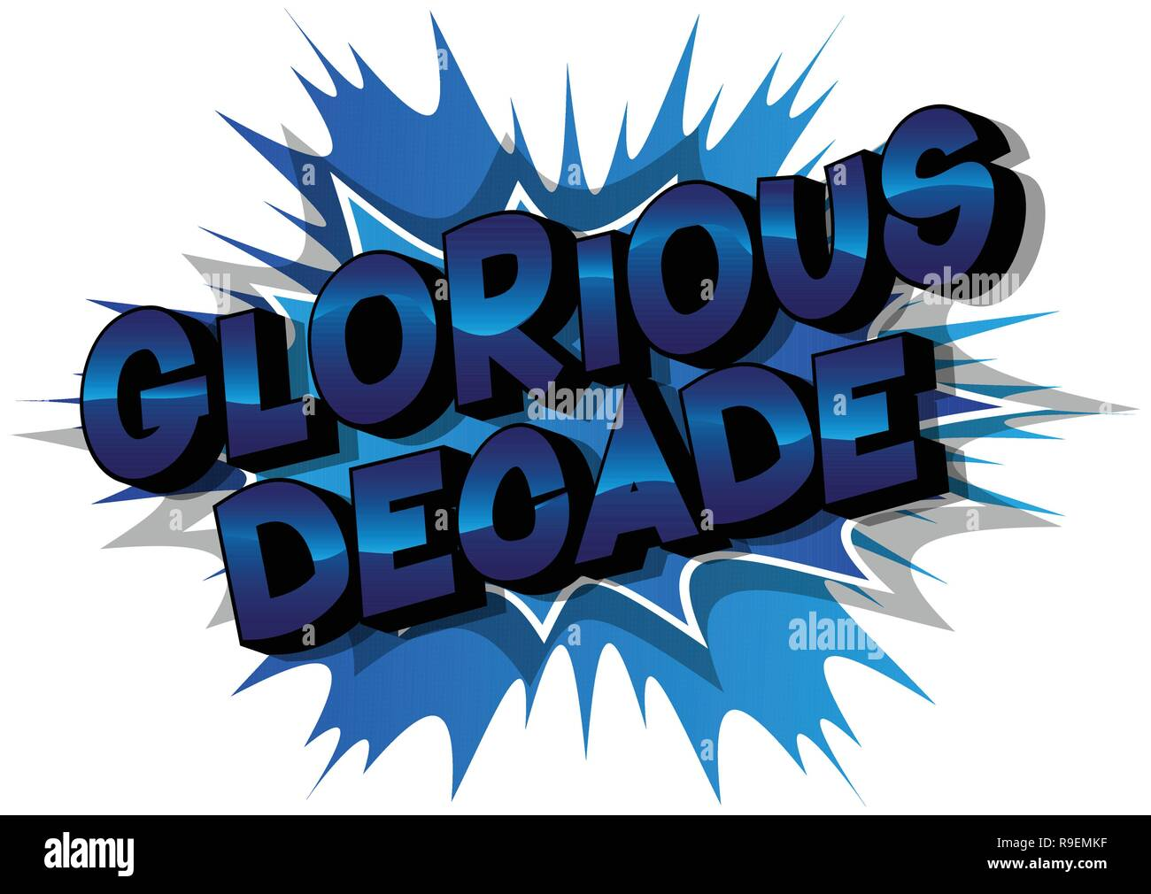 Glorious Decade - Vector illustrated comic book style phrase on abstract background. - Stock Image