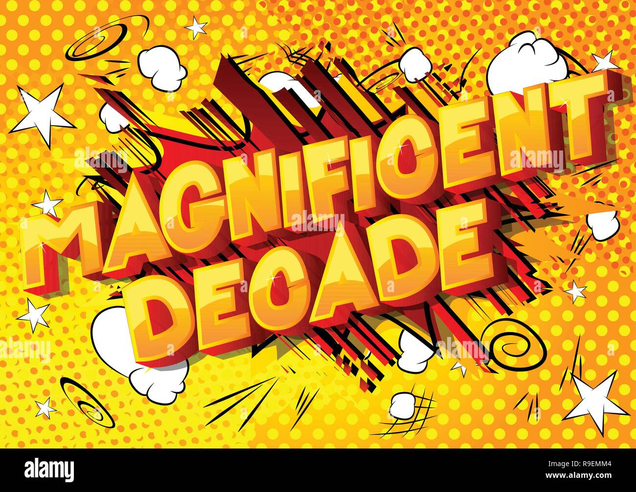 Magnificent Decade - Vector illustrated comic book style phrase on abstract background. - Stock Vector
