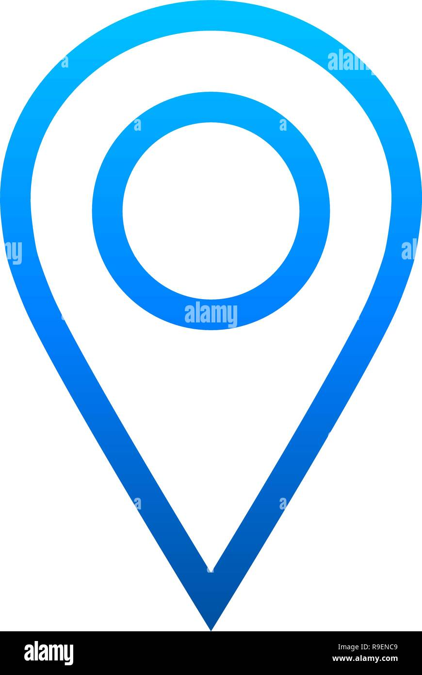 Pin point - blue gradient outlined, isolated - vector illustration - Stock Vector