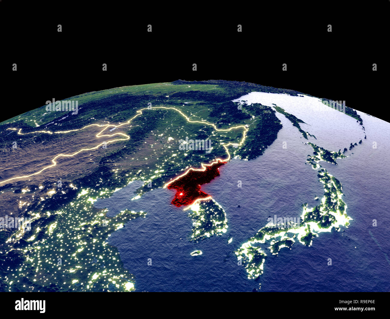 North Korea from space on planet Earth at night with bright