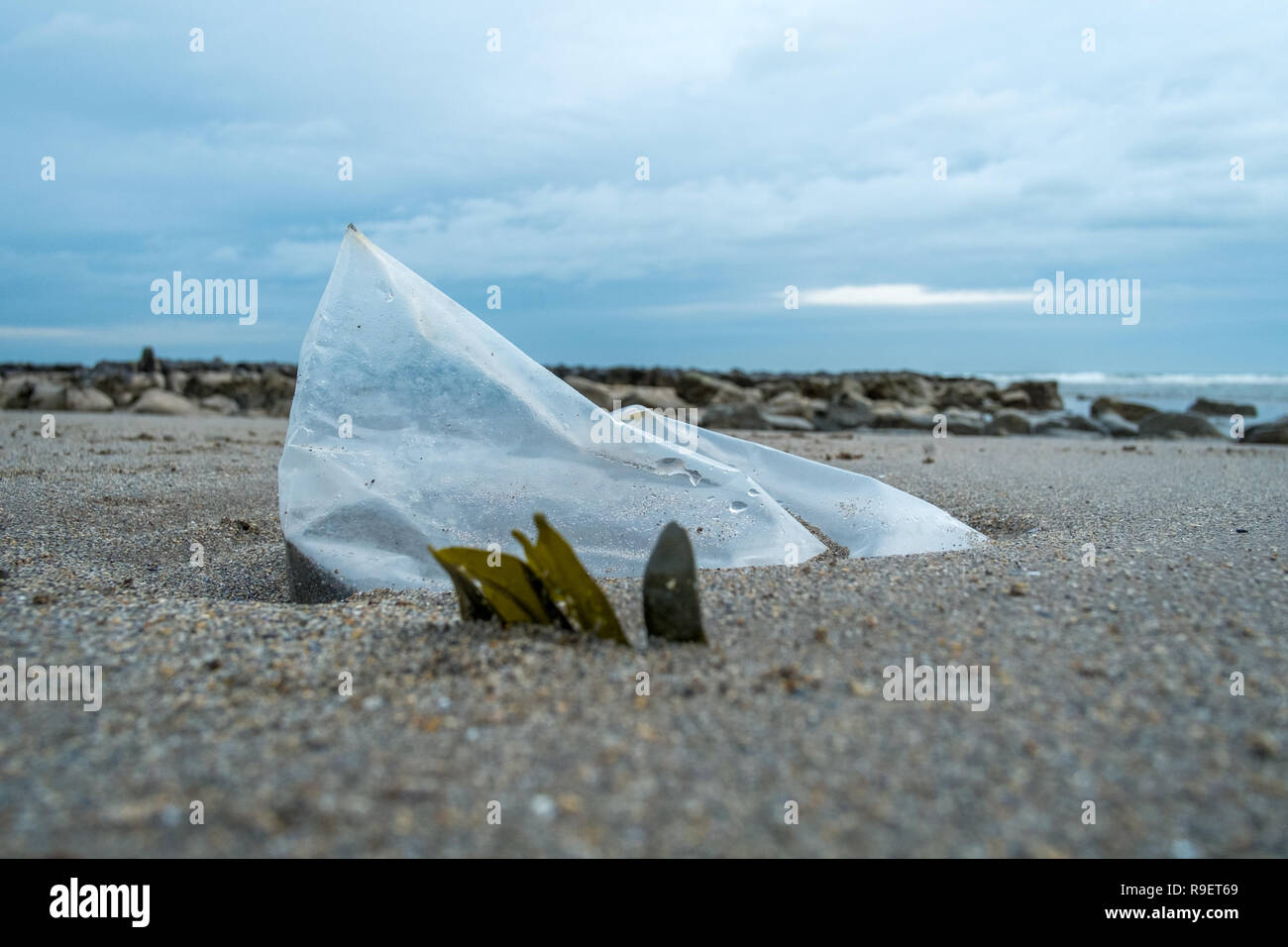 Plastic objects washed up on beach or in the street - Stock Image