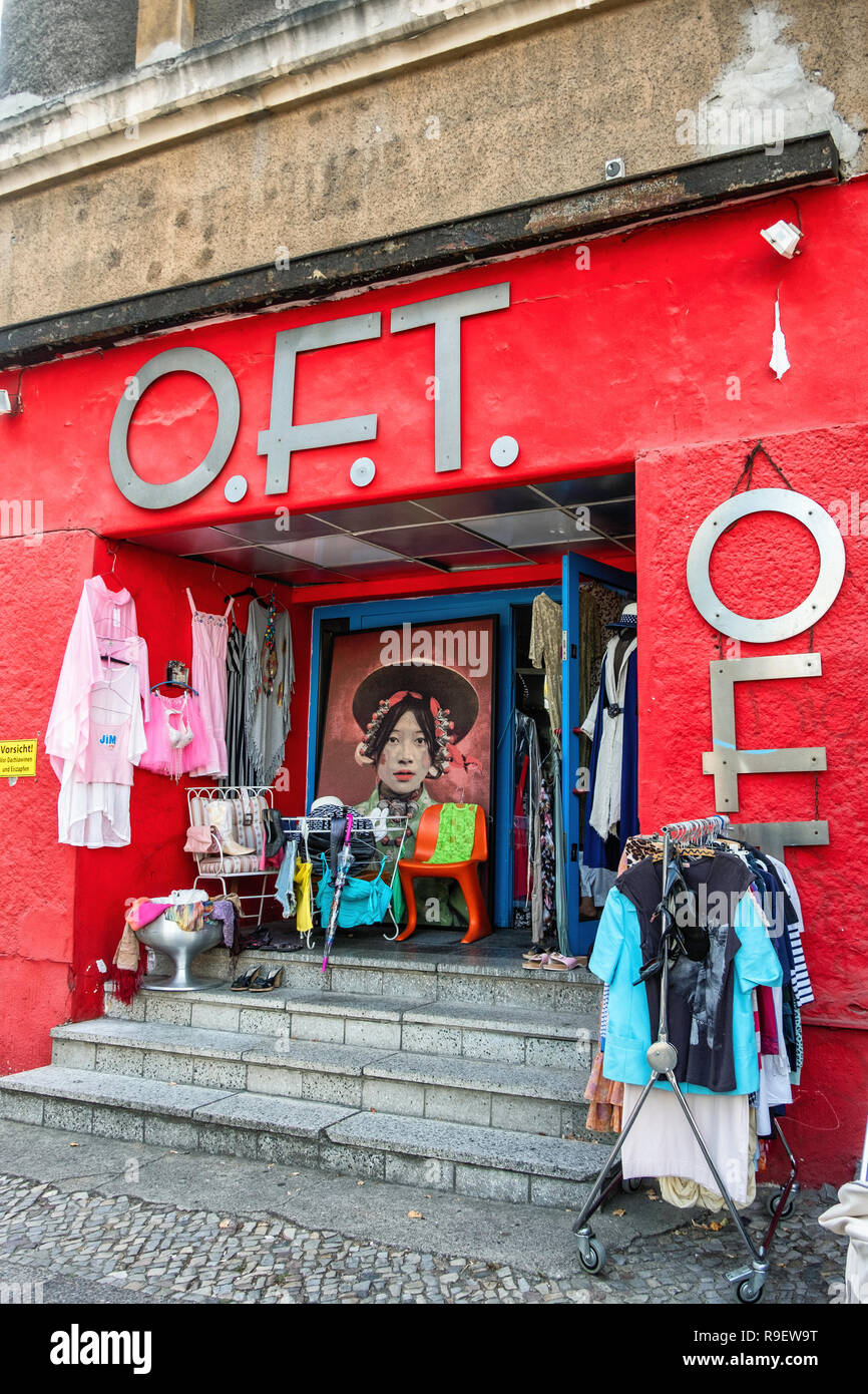 O.F.T. Ohne Frage toll, Without Question Great. Vintage shop sells clothing, furniture, lamps & accessories from the 60s and 70s. Stock Photo