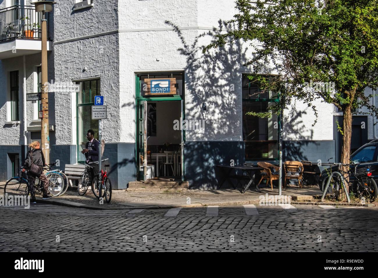 Berlin-Mitte,Eichendorffstraße 6. Cafe Bondi exterior, Trendy corner cafe & coffee shop serves brunch & breakfast - Stock Image